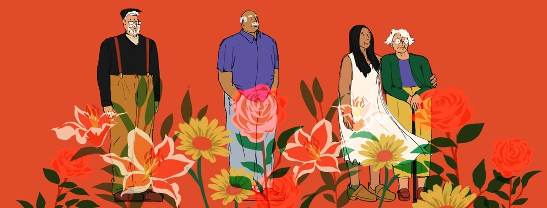 An old man in antiquated clothing stands alone; another old man in more modern clothing stands alone as well; a younger woman and an elderly woman stand together looking worried. Large roses, lilies and daisies are overlaid onto the figures.