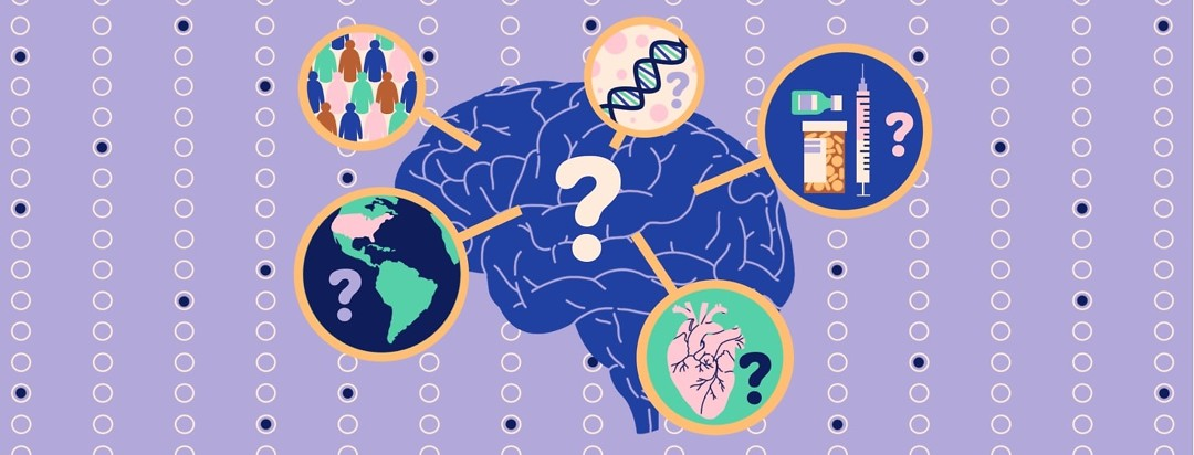 A brain with a question mark in the middle of it has several circles of imagery coming out of it: one showing a diverse group of people, one showing the Western hemisphere, one showing a DNA strand, one showing an anatomical heart, and one showing a variety of medications. The background is made up of mostly empty and some filled answer bubbles.