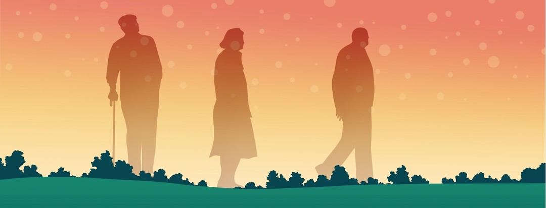 Silhouettes of three elderly people stand tall against a sunrise background.