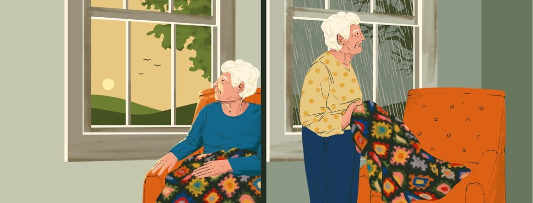 On the left, an elderly woman sits in a chair with a blanket over her, looking serenely out a window showing a calm daylight scene. On the right, in the same room the window now shows rain and the woman is standing with the blanket in her hand, looking agitated.