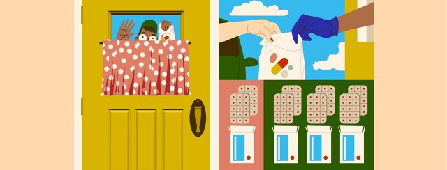 Several scenes portray medications acquired in alternative ways: a neighbor or friend delivering them to your door, picking them up through a pharmacy drive-thru, and instead of the usual 30 pack of pills, a 90-pack becomes an option.