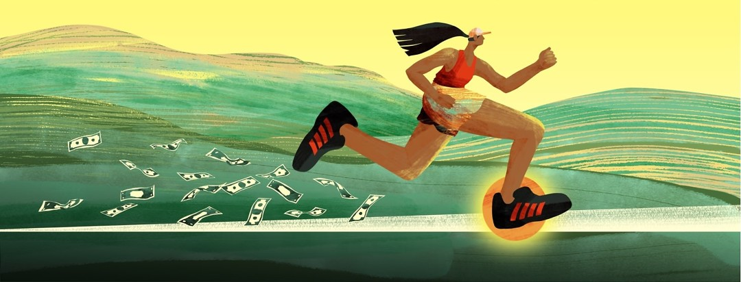 A woman runs to the right while dollar bills fly out from her feet behind her. Her front foot is illuminated by an orange dot.