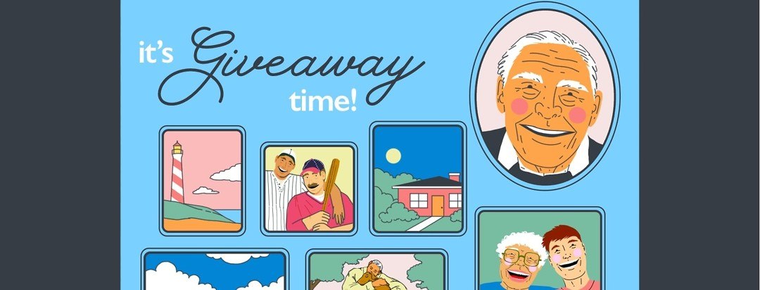 """A photo memory board depicts many different scenes in different photos: a house, two men with baseball gear, a man hugging a dog, a young man and older woman smiling, etc. Most prominent is a portrait of an older man next to the words """"its giveaway time!"""""""