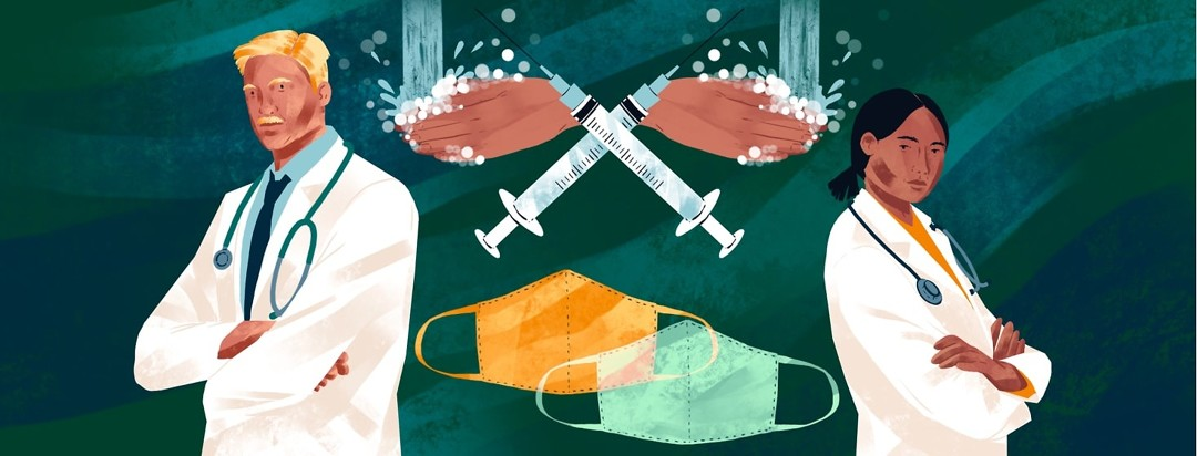 Two doctors stand with their arms folded, looking determined. Two face masks overlap underneath two crossed syringes and two sets of hands washing.
