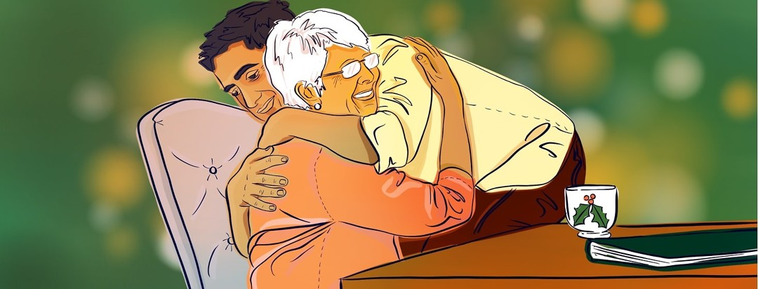 An adult son embraces his aging mother in a warm hug.