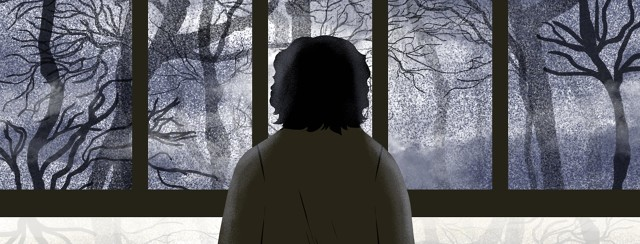 A woman is in silhouette, looking out a window to a wintery, dark scene of bare trees and little sunlight.