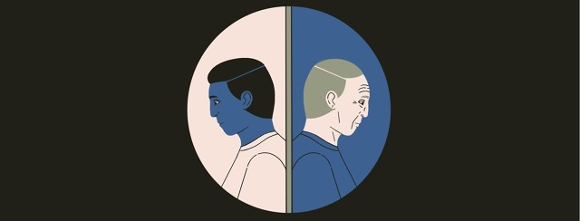 The same man, looking sad and shown in profile is portrayed in two different ages, with the portraits back to back and inside the shape of a round pill.