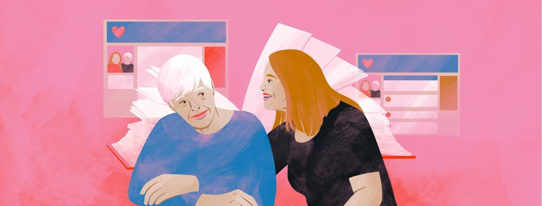 A younger woman smiles and leans over to an older woman, who is smiling shyly. Behind them is an open book and images of blog posts.