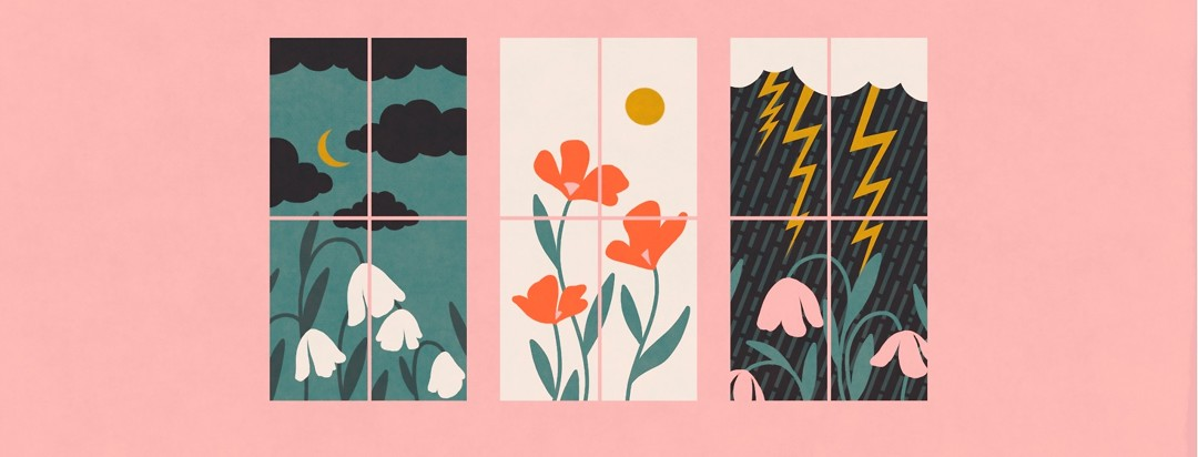 The same scene of a sky and flowers through a window is shown in 3 different scenarios - dark and cloudy, bright and sunny, and rainy and stormy.