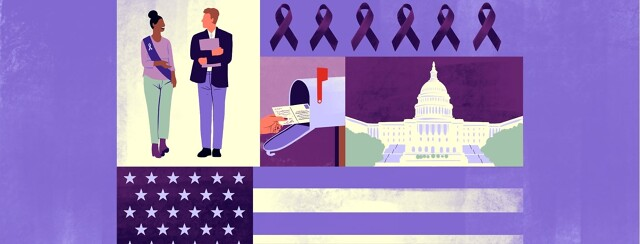 A patchwork of images including two people walking together, one wearing a purple sash; purple awareness ribbons; a hand putting postcards in a mailbox; the US capitol; and an American flag in shades of purple.