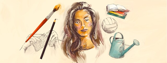 A sketched and partially painted portrait of a woman is surrounded by drawn out hobbies like knitting, volleyball, books, and gardening.