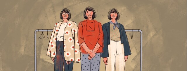 An older woman is shown in three different outfits that all have common colors and seem to be from the same collection.