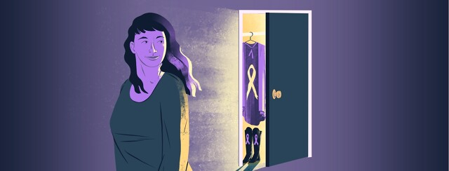 A woman turns her head toward a partially-open closet emitting light and revealing a cape and boots with Alzheimer's awareness ribbons on them.