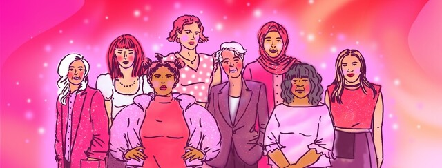 A group of female-identifying people diverse in ethnicity and age stand confidently together against a background of pink and purple swirls and sparkles.