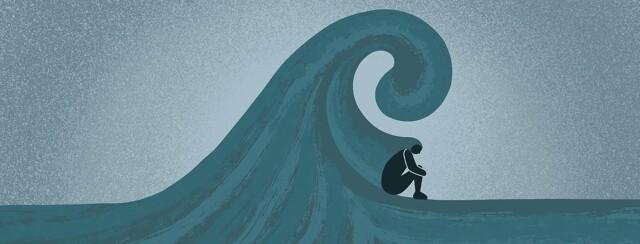 Person grieving underneath a huge ocean wave.