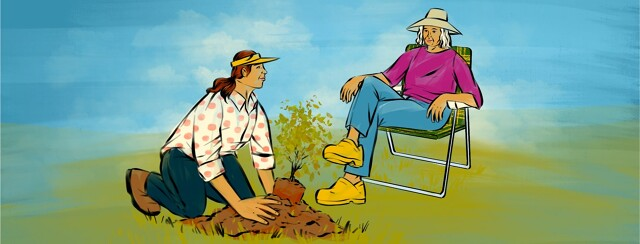 alt=A younger woman kneels on the ground, planting a tree. She smiles up an an older woman smiling and sitting in a lawn chair.
