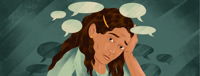 alt=a distressed woman leans on her hand. Speech bubbles float around her.
