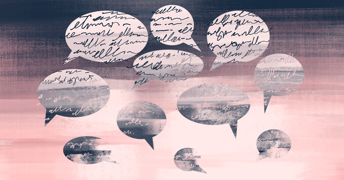 alt=speech bubbles full of handwritten text gradually get smaller, less full of text, and start to fade into the background.