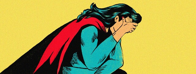 alt=a burnt-out superhero rests her head in her hand in exhaustion.