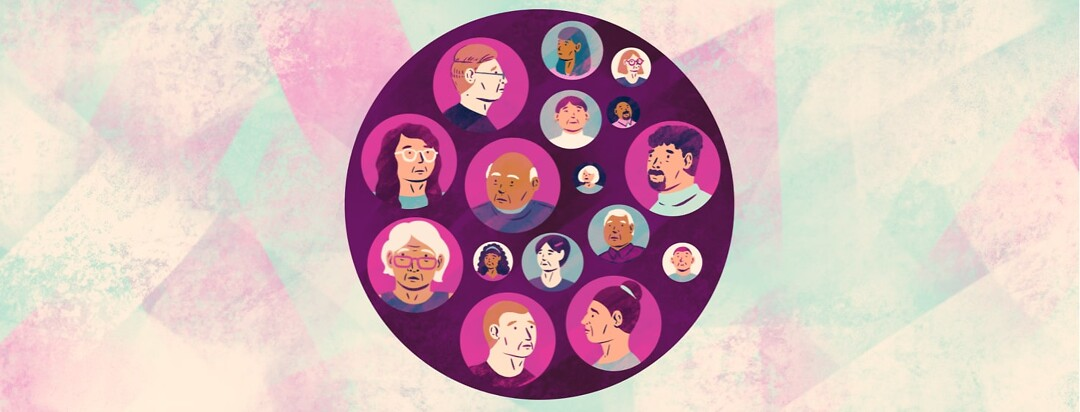 alt=a large purple circle contains portraits of concerned-looking people of all ages and races in smaller, differently-colored circles.