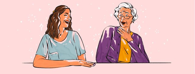 alt=A woman laughs at an older woman pretending to look offended.