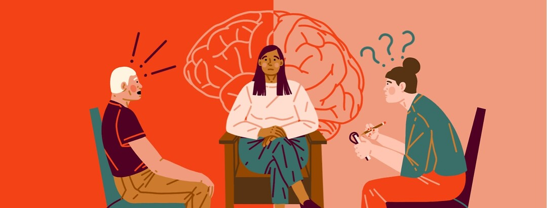 alt=A woman sits nervously between two people: a man leaning back in shock, and a woman leaning forward ready to take notes. Brain outline behind the middle woman.