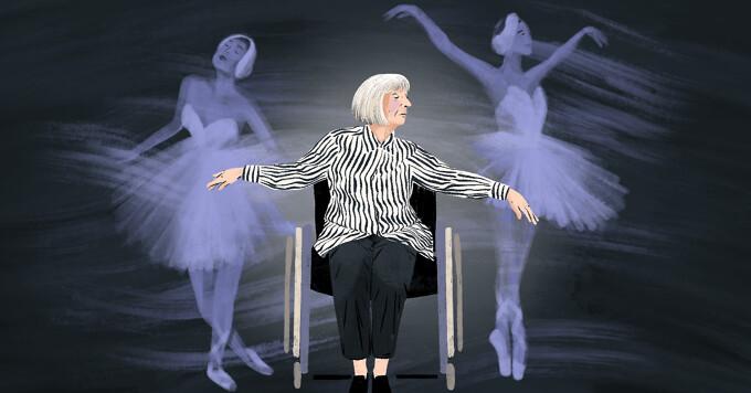 alt=elderly ballerina Marta Gonzalez dances in her wheelchair. Ghostly version of her younger self dance behind her.