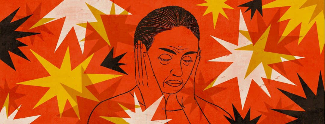 alt=a woman with hands over her ears to filter out noise.
