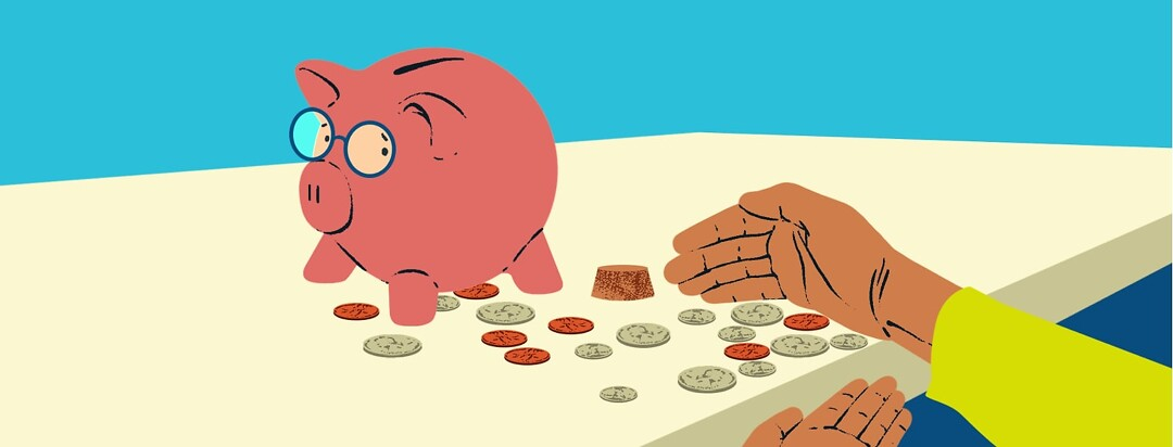 alt=A piggy bank wearing a concerned expression is emptied and watches as hands scoop up the remaining coins.