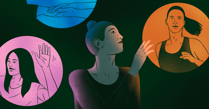 alt=a woman looking nervous but hopeful, lightly touching a glowing orb showing her on a run. She is surrounded by other glowing orbs showing her in different positive scenarios.