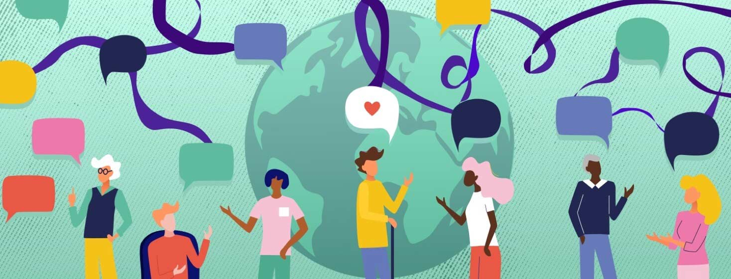Multiple people are communicating with speech bubbles as the world is in the backdrop. The speech bubbles are connected by purple ribbons.