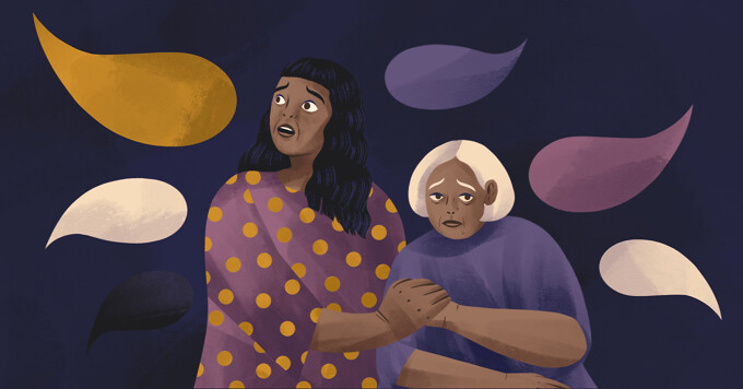 alt=a younger woman clutches her mother. Both look frightened of the speech bubbles that surround them.