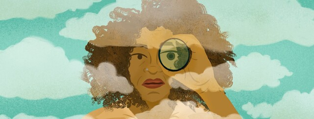 Woman stares through spyglass across fog clouds; visible, invisible, searching, looking, memory, memories,