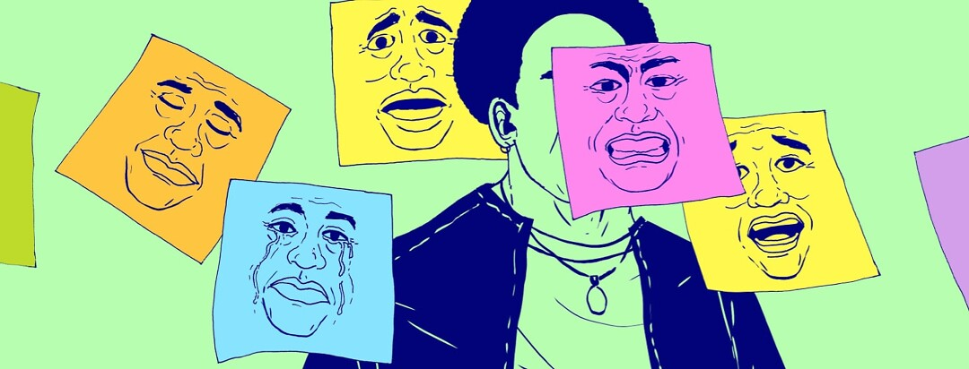 alt=A faceless person has sticky-notes posted all over themself, each depicting a different emotion or facial expression