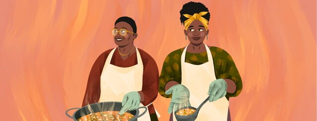 alt=a elderly mother and adult daughter serve soup together.