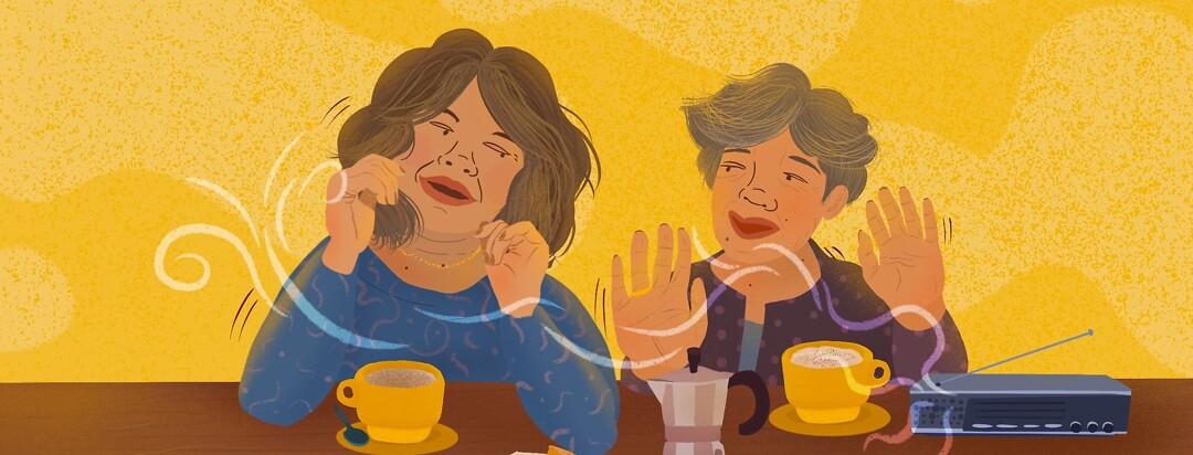 Mother daughter dance over coffee, pan or pastries, breakfast, radio, percolator coffeemaker moka pot, smiling, bonding