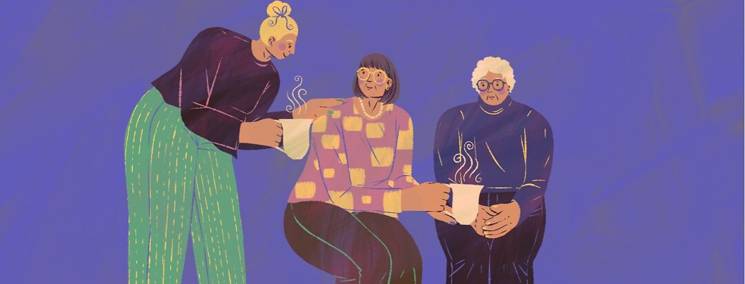 alt=a younger woman bends down to give a steaming mug to an older woman who is also giving a steaming mug to an elderly woman.